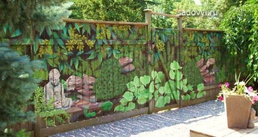 как украсить садовый забор, фото