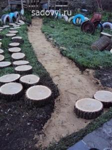 садовая дорожка из спилов дерева своими руками, фото