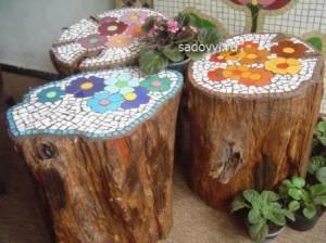 как украсить пень в саду, идеи