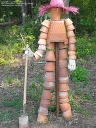 скульптуры для дачи из горшков своими руками