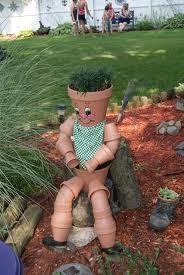 садовая скульптура из глиняных горшков своими руками