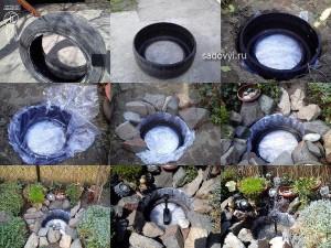 как сделать пруд из покрышек своими руками