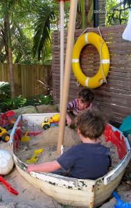 песочница для детей на даче, идеи дизайна