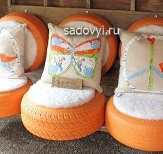 садовая мебель из покрышек своими руками, фото